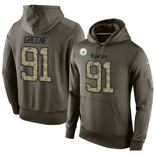 NFL Men's Nike Pittsburgh Steelers #91 Kevin Greene Stitched Green Olive Salute To Service KO Performance Hoodie