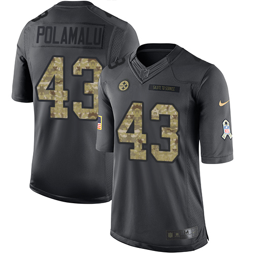 Nike Steelers #43 Troy Polamalu Black Men's Stitched NFL Limited 2016 Salute to Service Jersey