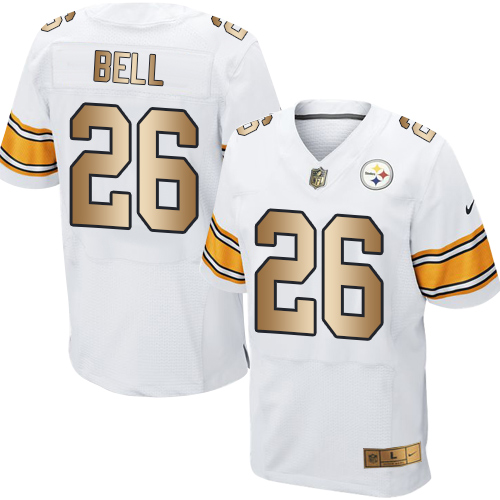 Nike Steelers #26 Le'Veon Bell White Men's Stitched NFL Elite Gold Jersey