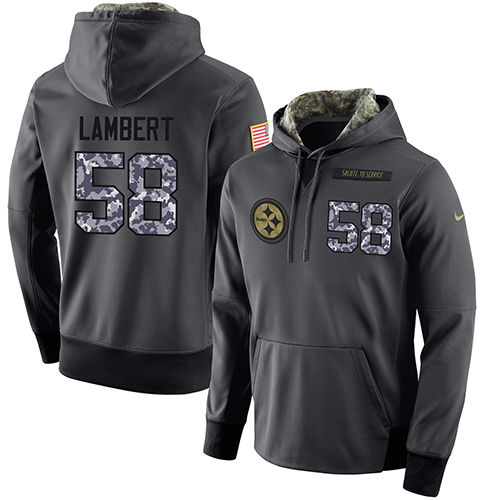 NFL Men's Nike Pittsburgh Steelers #58 Jack Lambert Stitched Black Anthracite Salute to Service Player Performance Hoodie