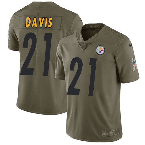 Nike Steelers #21 Sean Davis Olive Men's Stitched NFL Limited Salute to Service Jersey