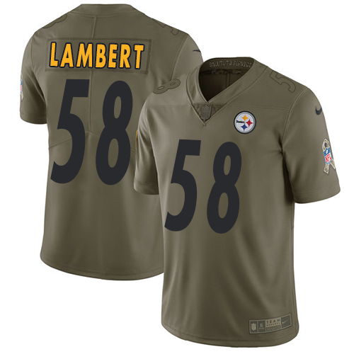 Nike Steelers #58 Jack Lambert Olive Men's Stitched NFL Limited Salute to Service Jersey