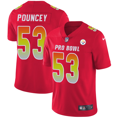Nike Steelers #53 Maurkice Pouncey Red Men's Stitched NFL Limited AFC 2018 Pro Bowl Jersey