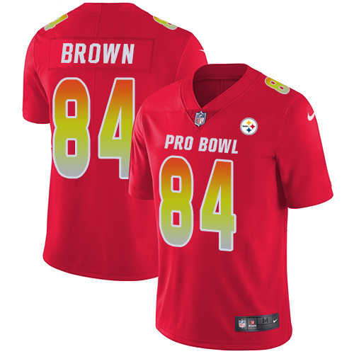 Nike Steelers #84 Antonio Brown Red Men's Stitched NFL Limited AFC 2018 Pro Bowl Jersey