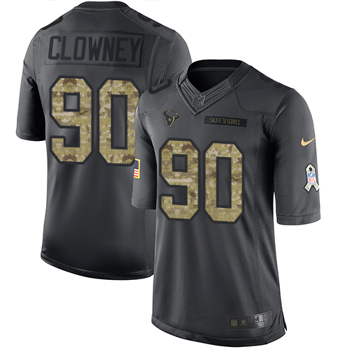 Nike Texans #90 Jadeveon Clowney Black Men's Stitched NFL Limited 2016 Salute to Service Jersey