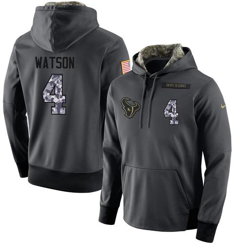 NFL Men's Nike Houston Texans #4 Deshaun Watson Stitched Black Anthracite Salute to Service Player Performance Hoodie