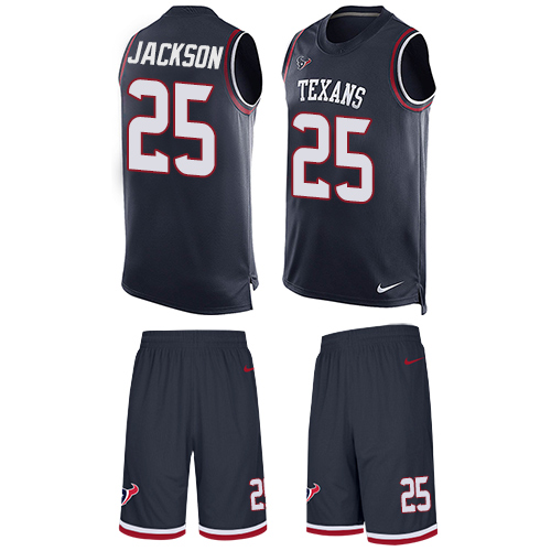 Nike Texans #25 Kareem Jackson Navy Blue Team Color Men's Stitched NFL Limited Tank Top Suit Jersey