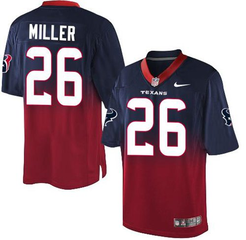 Nike Texans #26 Lamar Miller Navy Blue/Red Men's Stitched NFL Elite Fadeaway Fashion Jersey