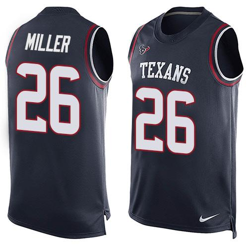 Nike Texans #26 Lamar Miller Navy Blue Team Color Men's Stitched NFL Limited Tank Top Jersey