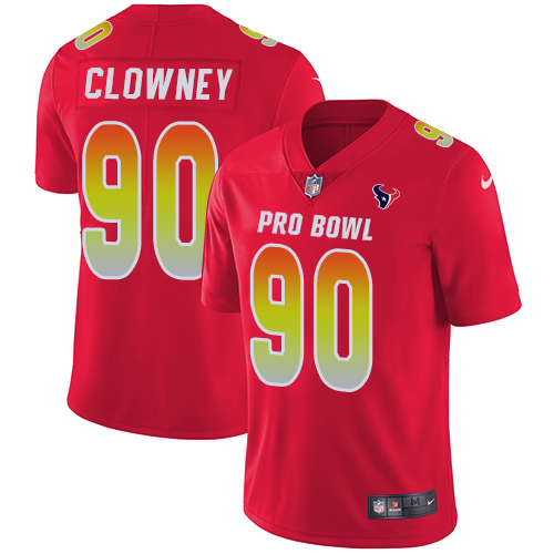 Nike Texans #90 Jadeveon Clowney Red Men's Stitched NFL Limited AFC 2018 Pro Bowl Jersey