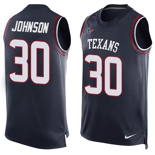 Nike Texans #30 Kevin Johnson Navy Blue Team Color Men's Stitched NFL Limited Tank Top Jersey