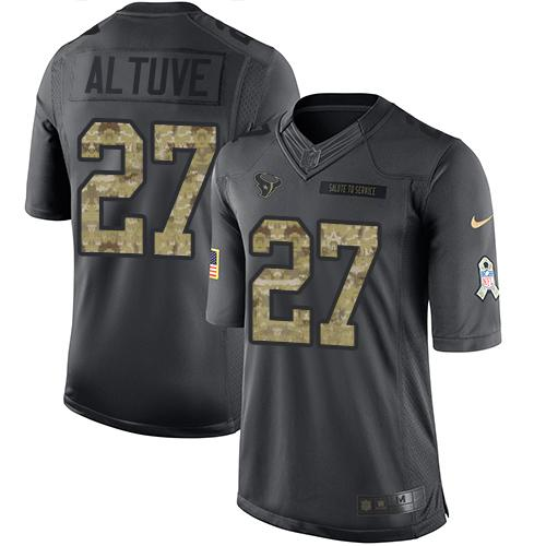 Nike Texans #27 Jose Altuve Black Men's Stitched NFL Limited 2016 Salute to Service Jersey