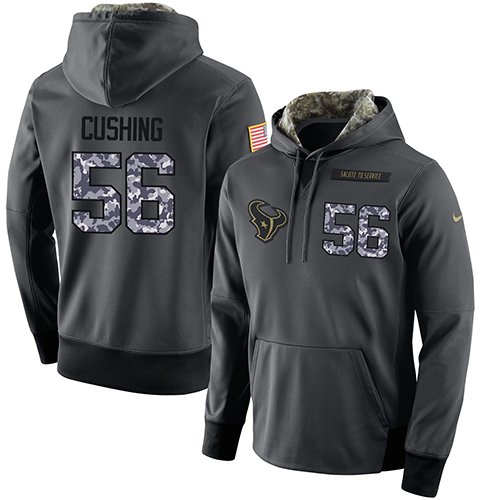 NFL Men's Nike Houston Texans #56 Brian Cushing Stitched Black Anthracite Salute to Service Player Performance Hoodie
