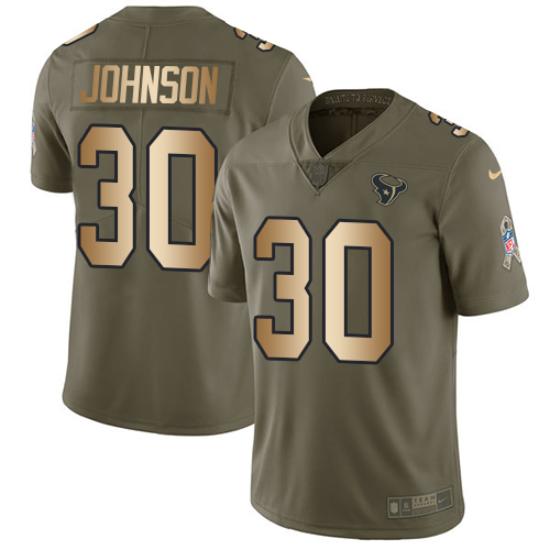 Nike Texans #30 Kevin Johnson Olive/Gold Men's Stitched NFL Limited Salute To Service Jersey