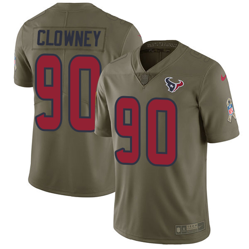 Nike Texans #90 Jadeveon Clowney Olive Men's Stitched NFL Limited Salute to Service Jersey