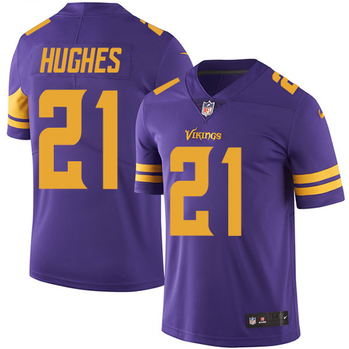 Nike Vikings #21 Mike Hughes Purple Men's Stitched NFL Limited Rush Jersey