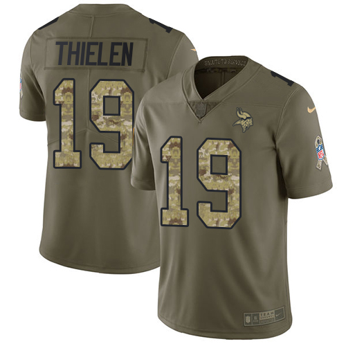 Nike Vikings #19 Adam Thielen Olive/Camo Men's Stitched NFL Limited Salute To Service Jersey