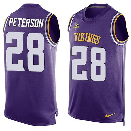 Nike Vikings #28 Adrian Peterson Purple Team Color Men's Stitched NFL Limited Tank Top Jersey