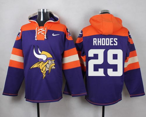 Nike Vikings #29 Xavier Rhodes Purple Player Pullover NFL Hoodie