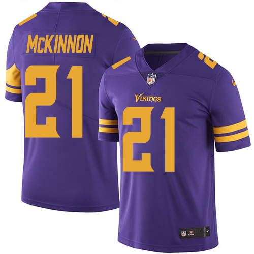 Nike Vikings #21 Jerick McKinnon Purple Men's Stitched NFL Limited Rush Jersey