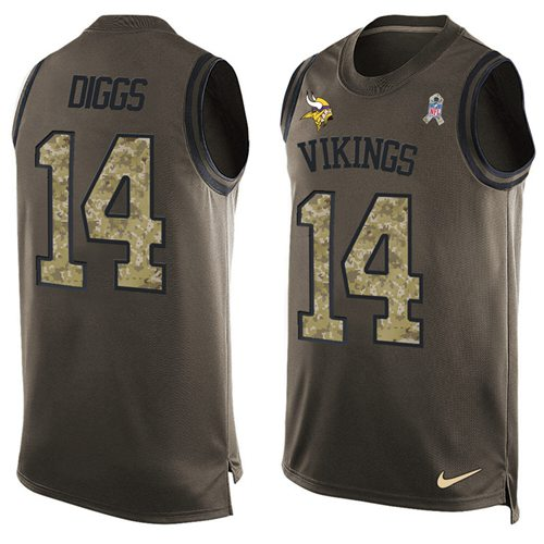 Nike Vikings #14 Stefon Diggs Green Men's Stitched NFL Limited Salute To Service Tank Top Jersey