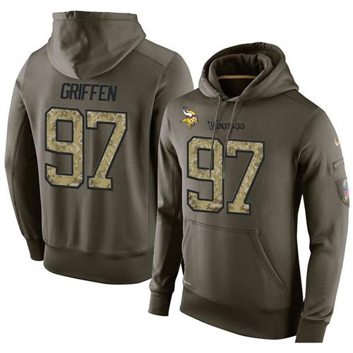 NFL Men's Nike Minnesota Vikings #97 Everson Griffen Stitched Green Olive Salute To Service KO Performance Hoodie