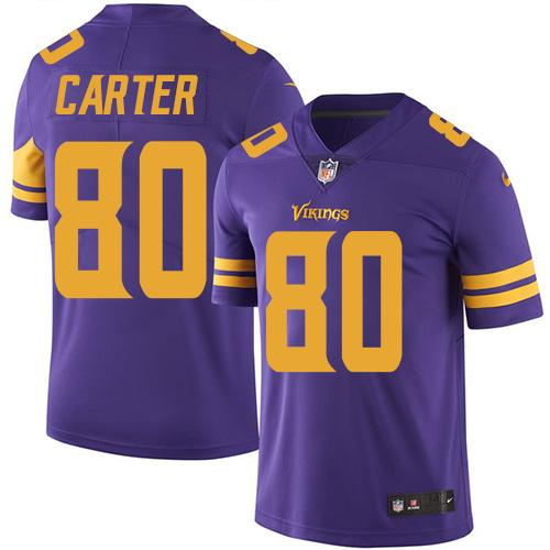 Nike Vikings #80 Cris Carter Purple Men's Stitched NFL Limited Rush Jersey