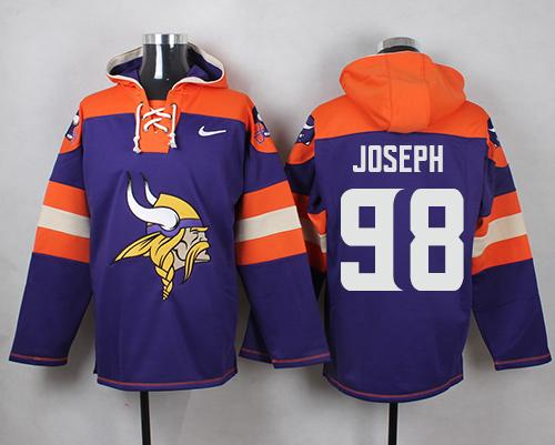 Nike Vikings #98 Linval Joseph Purple Player Pullover NFL Hoodie