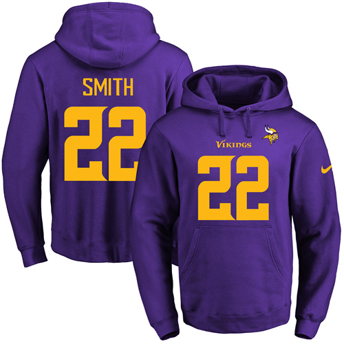 Nike Vikings #22 Harrison Smith Purple(Gold No.) Name & Number Pullover NFL Hoodie