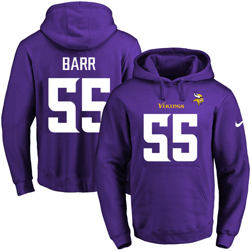 Nike Vikings #55 Anthony Barr Purple Name & Number Pullover NFL Hoodie