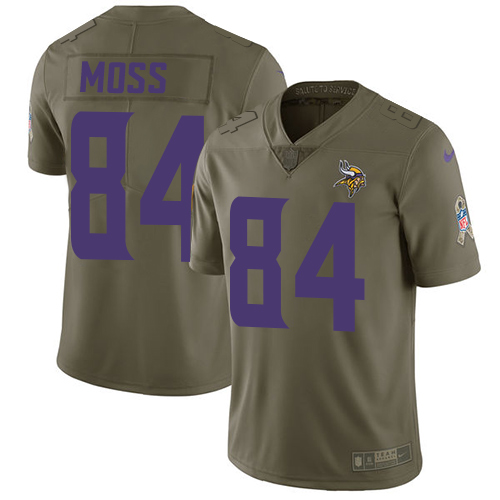 Nike Vikings #84 Randy Moss Olive Men's Stitched NFL Limited Salute To Service Jersey