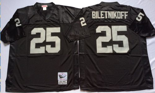 Mitchell And Ness Raiders #25 Fred Biletnikoff Black Throwback Stitched NFL Jersey