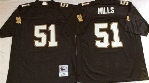 Mitchell And Ness Saints #51 Sam Mills Black Throwback Stitched NFL Jersey