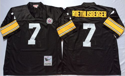 Mitchell And Ness Steelers #7 Ben Roethlisberger Black Throwback Stitched NFL Jersey
