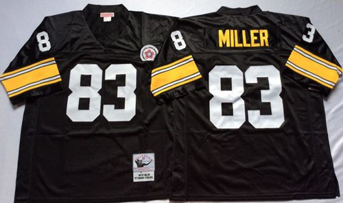Mitchell And Ness Steelers #83 Heath Miller Black Throwback Stitched NFL Jersey