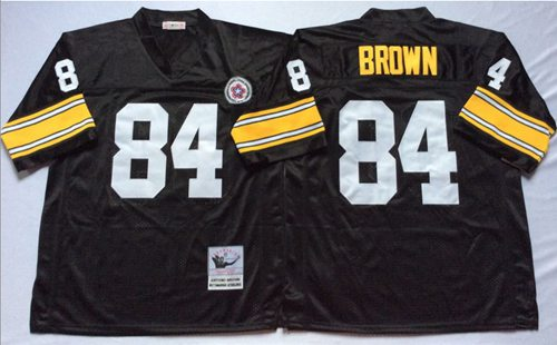 Mitchell And Ness Steelers #84 Antonio Brown Black Throwback Stitched NFL Jersey