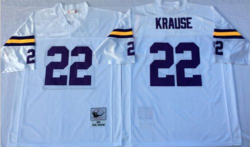 Mitchell And Ness Vikings #22 Paul Krause White Throwback Stitched NFL Jersey