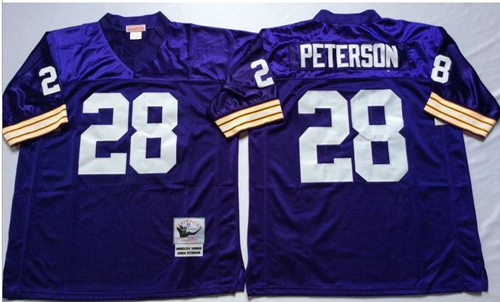 Mitchell And Ness Vikings #28 Adrian Peterson Purple Throwback Stitched NFL Jersey