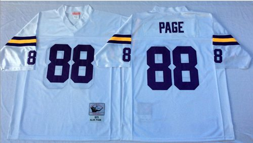 Mitchell And Ness Vikings #88 Alan Page White Throwback Stitched NFL Jersey