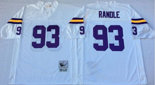 Mitchell And Ness Vikings #93 John Randle White Throwback Stitched NFL Jersey