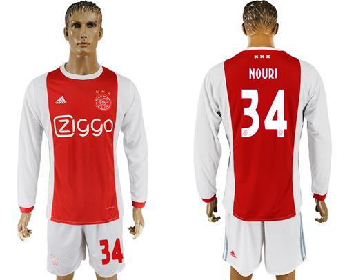 Ajax #34 Nouri Home Long Sleeves Soccer Club Jersey