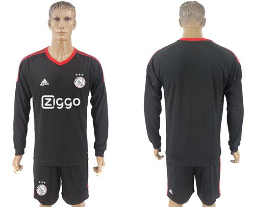 Ajax Blank Black Goalkeeper Long Sleeves Soccer Club Jersey