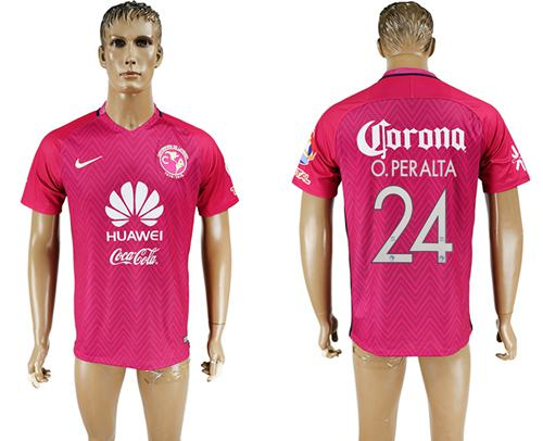 America #24 O.Peralta Pink Soccer Club Jersey