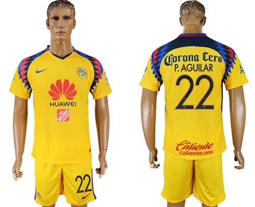 America #22 P.Aguilar Sec Away Soccer Club Jersey