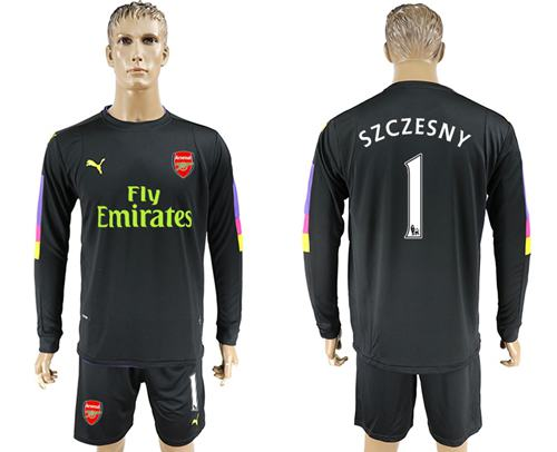 Arsenal #1 Szczesny Black Long Sleeves Goalkeeper Soccer Country Jersey