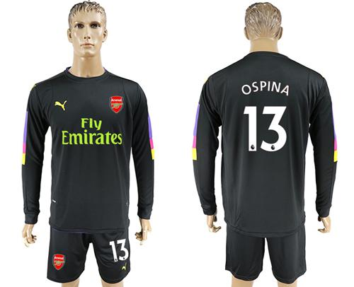 Arsenal #13 Ospina Black Long Sleeves Goalkeeper Soccer Country Jersey