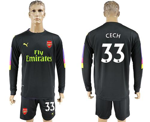 Arsenal #33 Cech Black Long Sleeves Goalkeeper Soccer Country Jersey