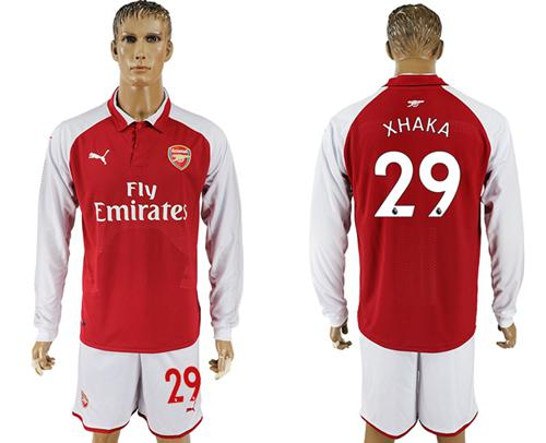 Arsenal #29 Xhaka Red Home Long Sleeves Soccer Club Jersey
