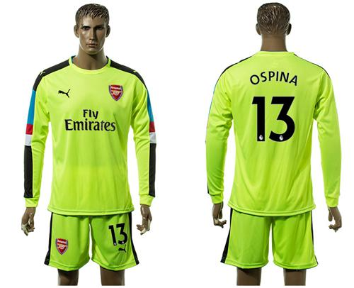Arsenal #13 Ospina Shiny Green Goalkeeper Long Sleeves Soccer Club Jersey