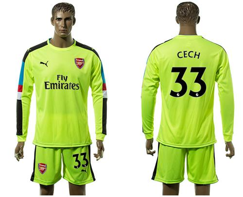 Arsenal #33 Cech Shiny Green Goalkeeper Long Sleeves Soccer Club Jersey